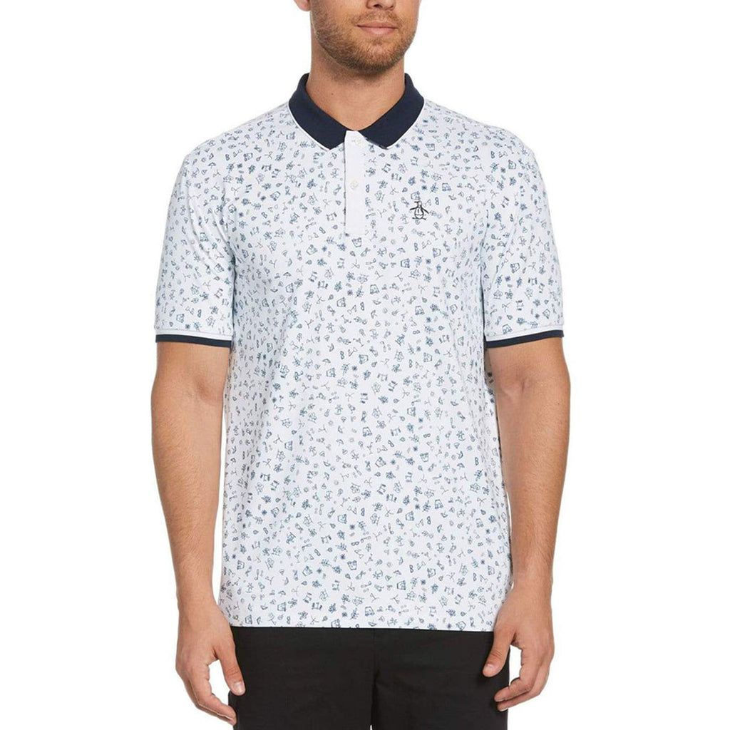 Original Penguin Clubhouse Printed Polo Shirt - Bright White - ANTHEM