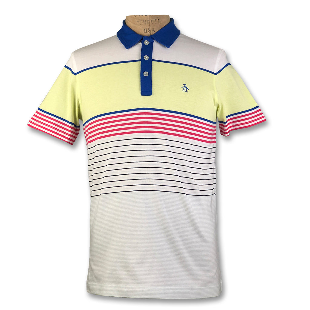 Original Penguin Jersey Engineered Stripe Polo Shirt - Turkish Sea