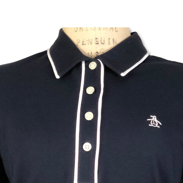 Original Penguin Womens Veronica Pointed Collar Polo Shirt - Dark Sapphire