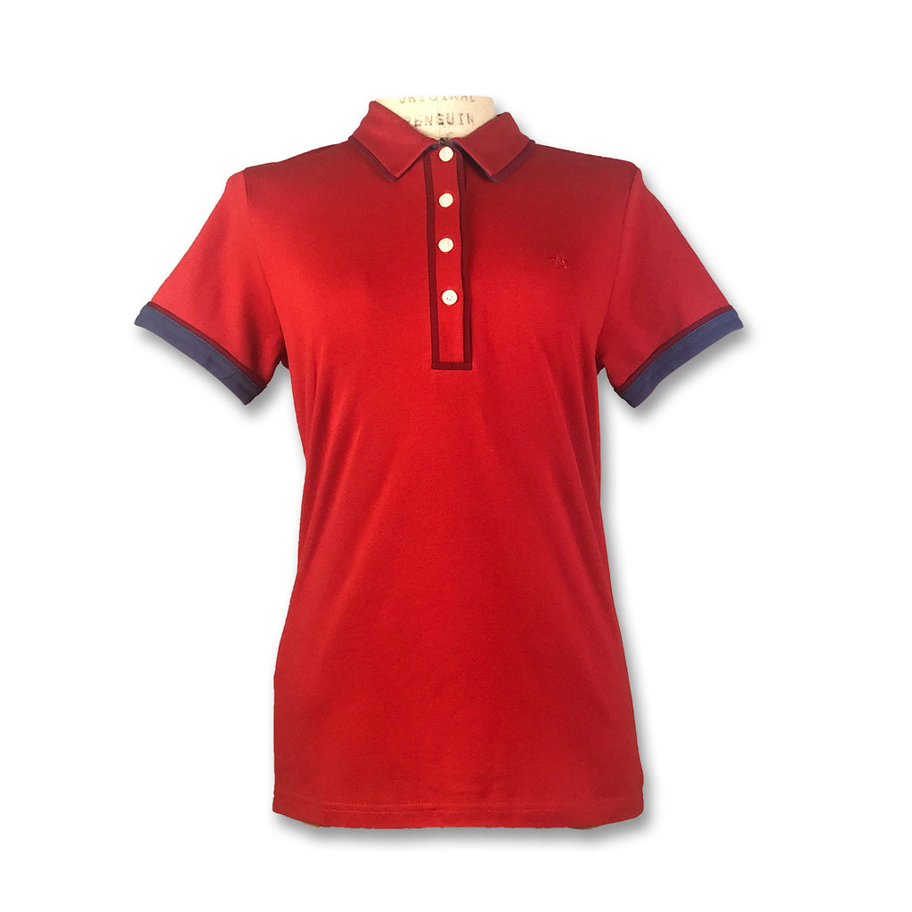 Original Penguin Womens Veronica Pointed Tricolor Polo Shirt - Samba