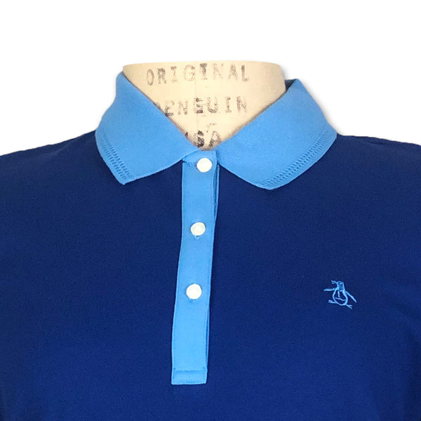 Original Penguin Womens Contrast Collar Polo Shirt - Sodalite Blue