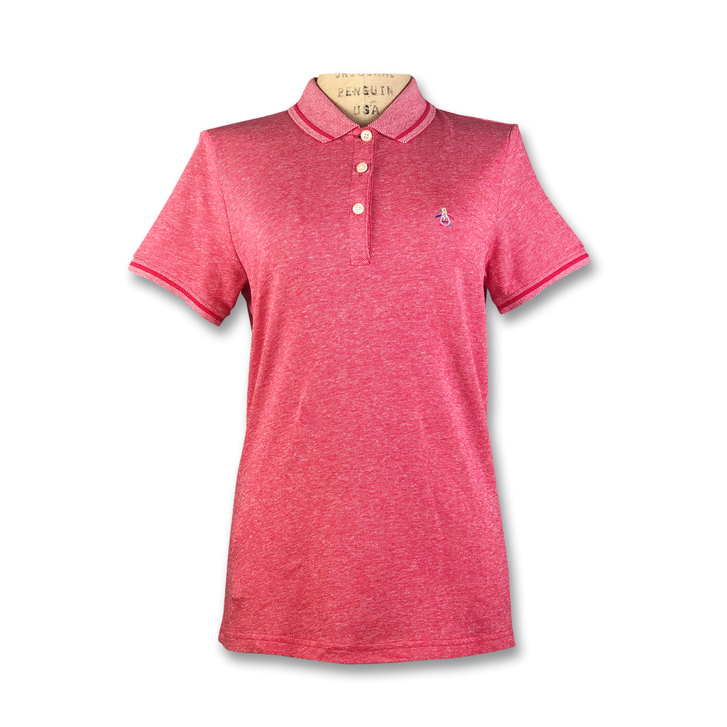 Original Penguin Womens Contrast Collar Polo Shirt - Rococco Red