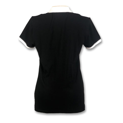 Original Penguin Womens Contrast Collar Polo Shirt - True Black