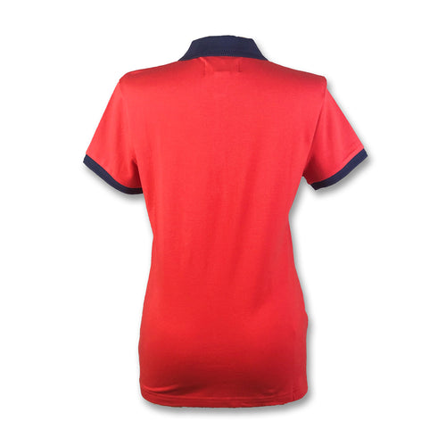 Original Penguin Womens Contrast Collar Polo Shirt - Flame Scarlet