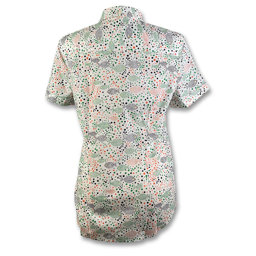 Original Penguin Womens Dot Fish Printed Woven Shirt - Bright White