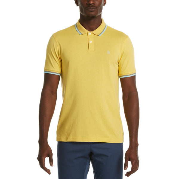 Original Penguin Jersey Short Sleeve Polo Shirt With Tipping - Cream Gold