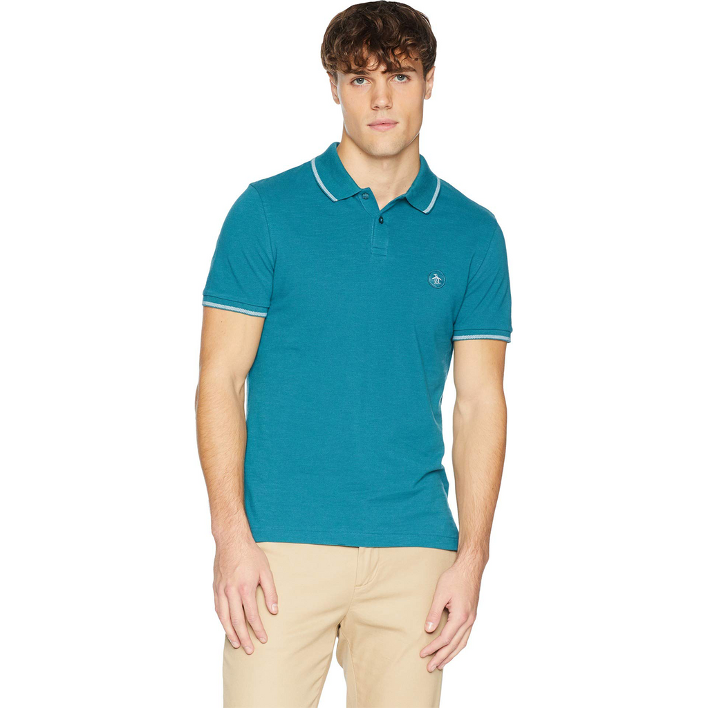 Original Penguin Patch Logo Daddy O 2.0 Polo Shirt - Mazarine Blue