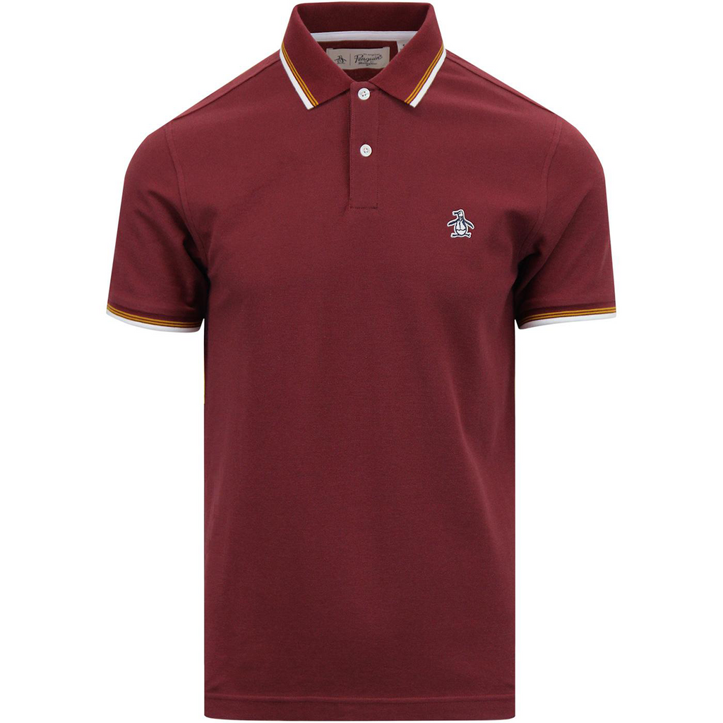 Original Penguin Sticker Pete Pique Polo Shirt - Tawny Port