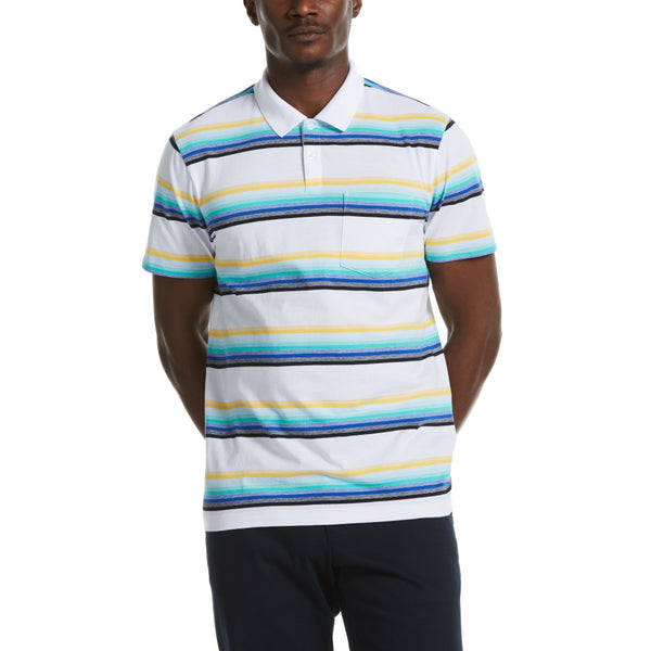 Original Penguin Large Multi Stripe Polo Shirt - Bright White