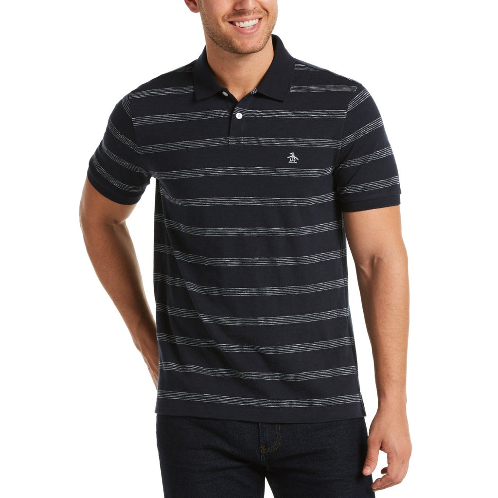 Original Penguin Multi Stripe Polo Shirt Dark Sapphire - ANTHEM