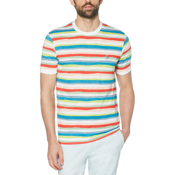 Original Penguin Fashion Painters Stripes T-Shirt - Bright White