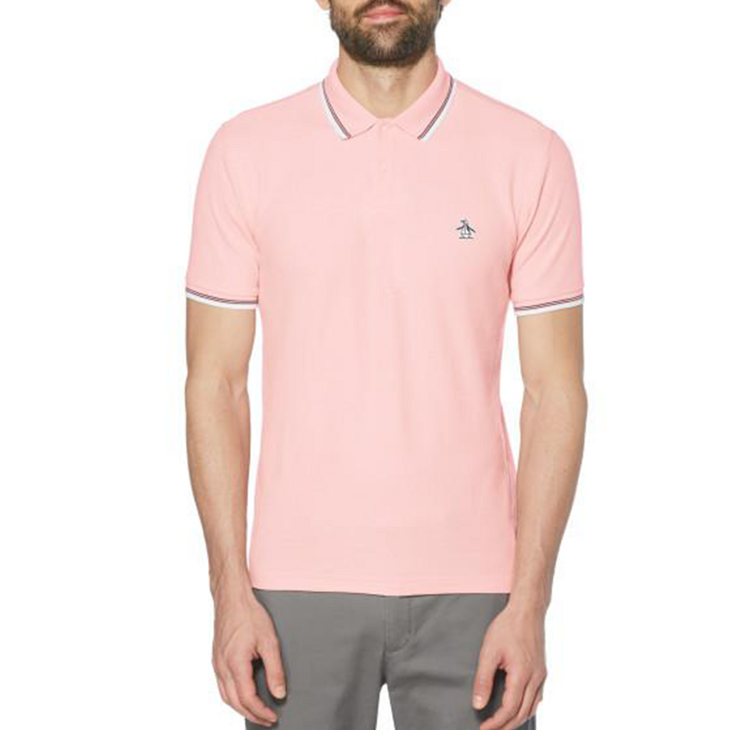 Original Penguin Sticker Pete Pique Polo Shirt - Impatiens Pink