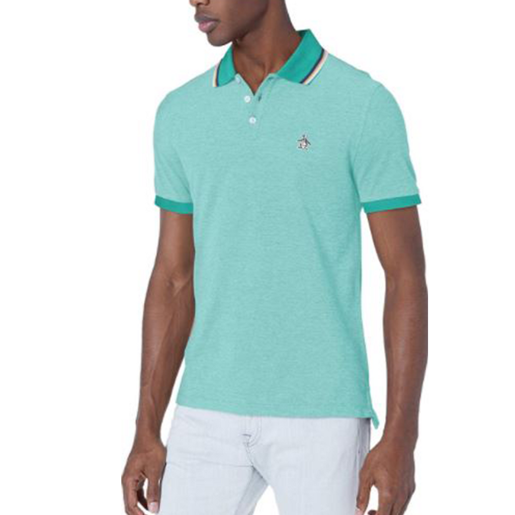 Original Penguin Tipped Birdseye Polo Shirt - Bright Aqua