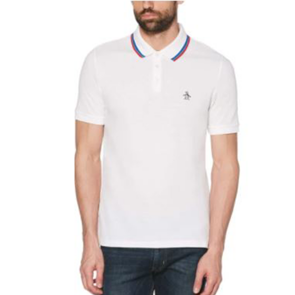 Original Penguin Tipped Birdseye Polo Shirt - Bright White