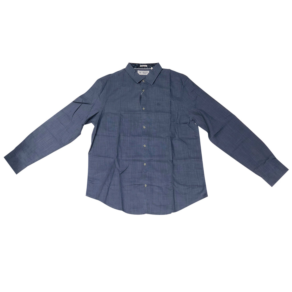 Original Penguin Pigment Overprint Long Sleeve Woven Shirt - Vintage Indigo - ANTHEM