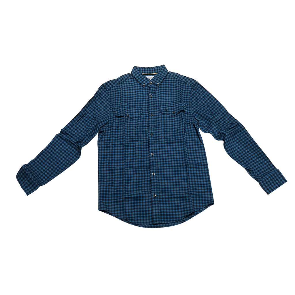 Original Penguin Textured Gingham Long Sleeve Woven Shirt - Dark Sapphire - ANTHEM