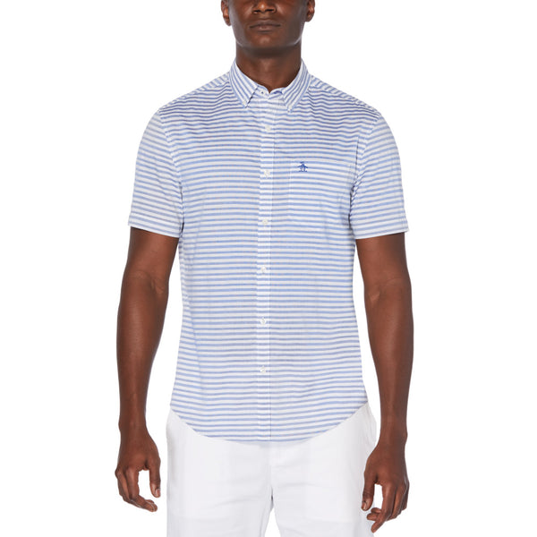 Original Penguin Horizontal Dobby Stripe Short Sleeve Woven Shirt - Surf the Web
