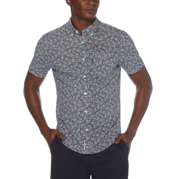 Original Penguin Print Linen Blend Short Sleeve Woven Shirt