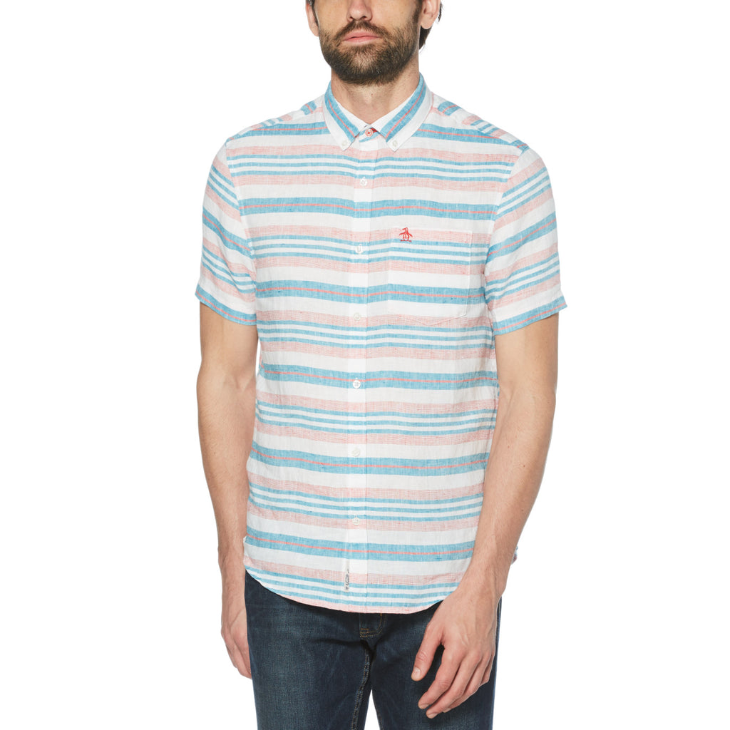Original Penguin Stripe Linen Short Sleeve Woven Shirt - ANTHEM