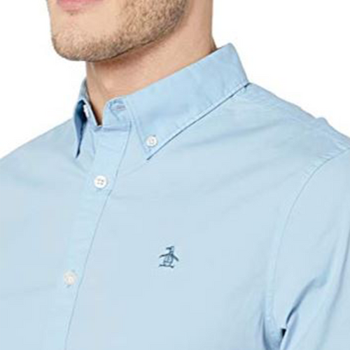 Original Penguin Core Poplin with Stretch Woven Shirt - Powder Blue
