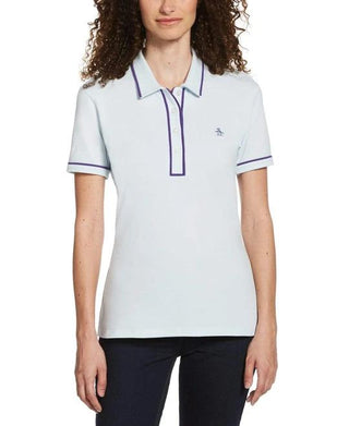 Original Penguin Womens Veronica Pointed Collar Polo Shirt Ballad Blue - ANTHEM