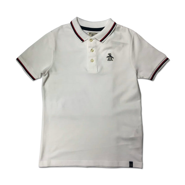 Original Penguin Boys Contrast Tipping Polo Shirt - Bright White - ANTHEM
