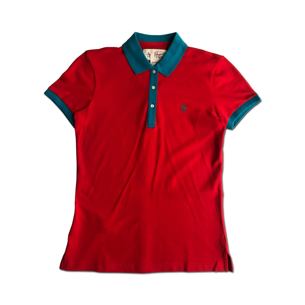 Original Penguin Womens Contrast Collar Polo Shirt High Risk Red - ANTHEM