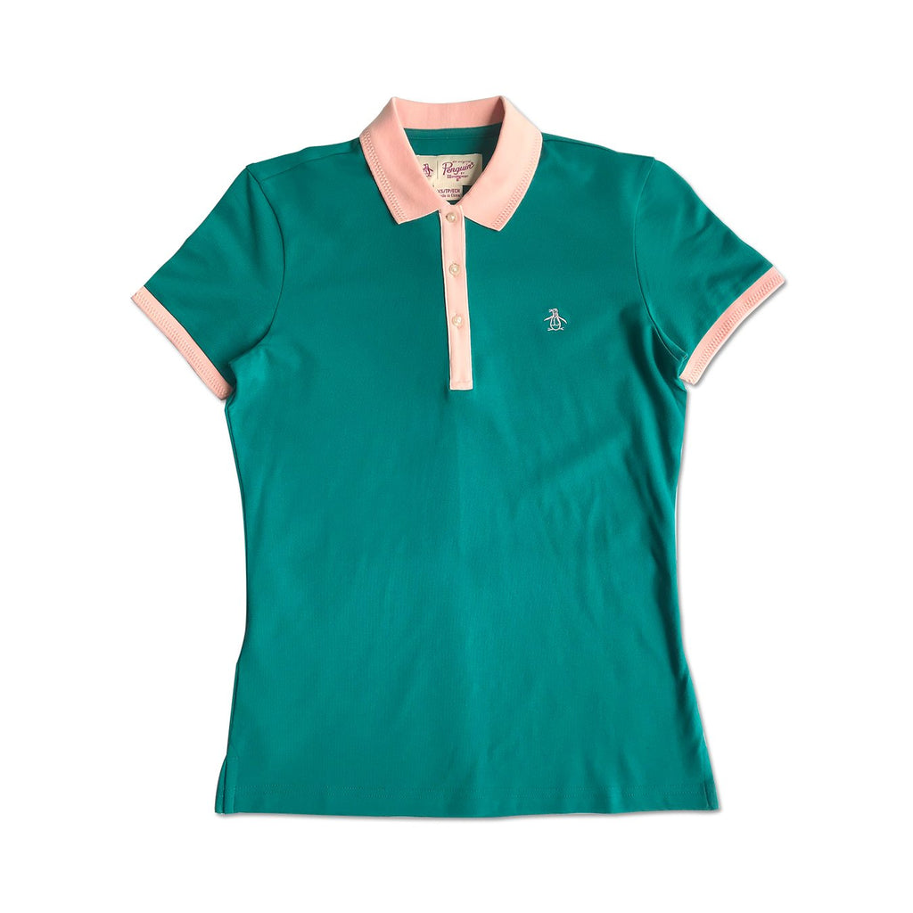 Original Penguin Womens Contrast Collar Polo Shirt Deep Lake - ANTHEM