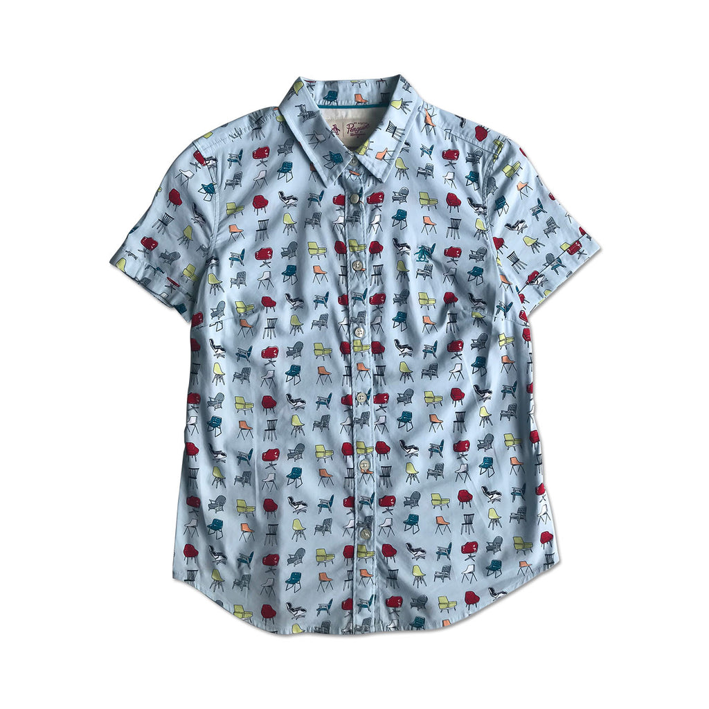 Original Penguin Womens Chairs Short Sleeve Woven Shirt - ANTHEM