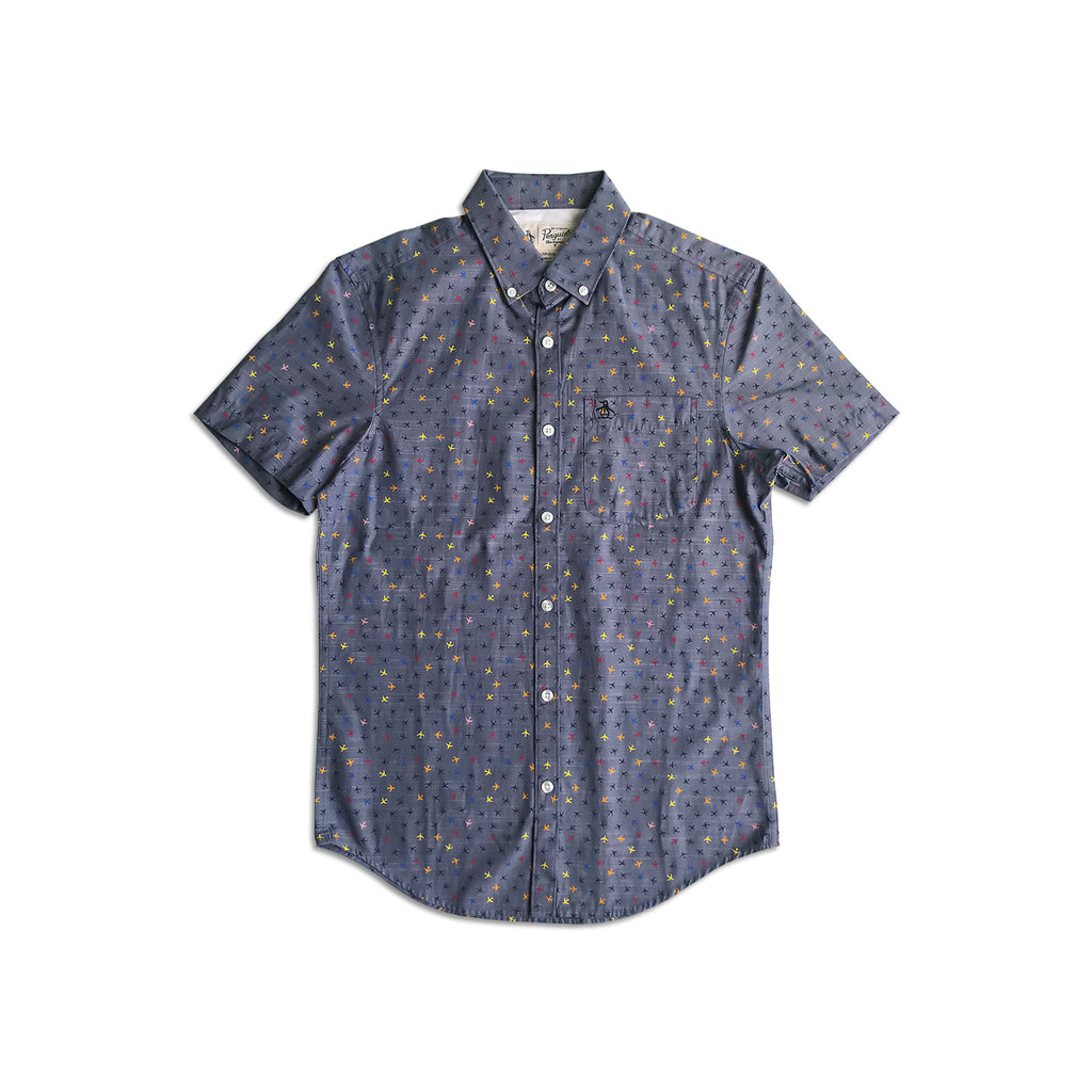 Original Penguin Plane Chambray Short Sleeve Woven Shirt - ANTHEM