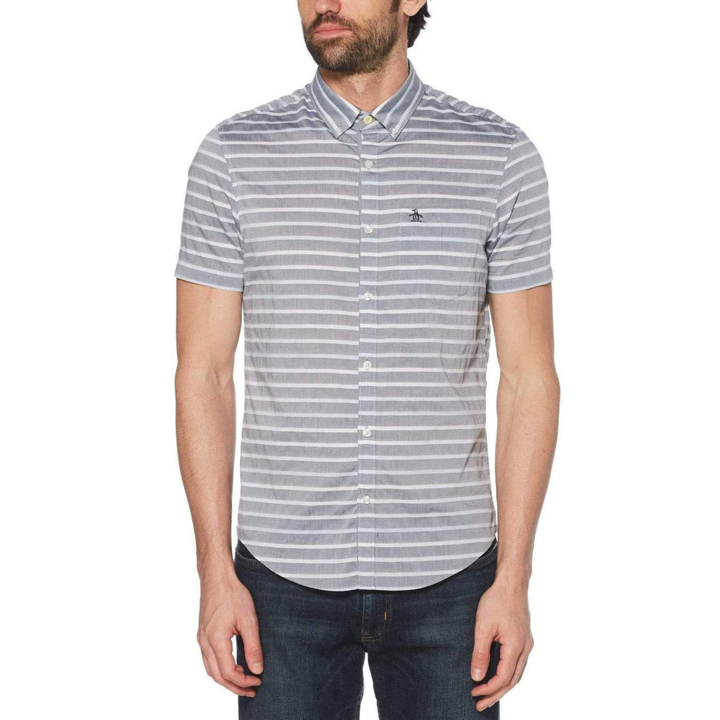 Original Penguin Chambray Stripe Short Sleeve Woven Shirt - ANTHEM