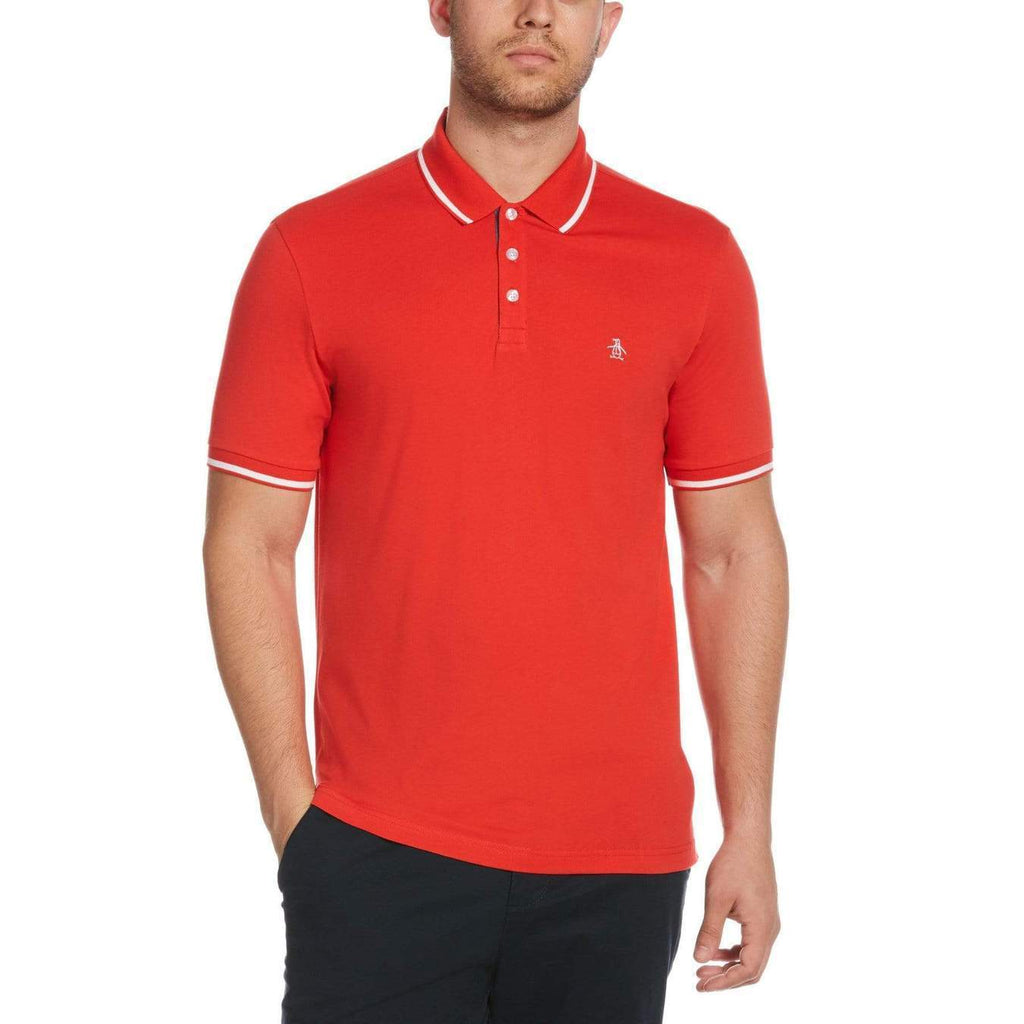 Original Penguin Jersey Tipped Polo Shirt Flame Scarlet - ANTHEM