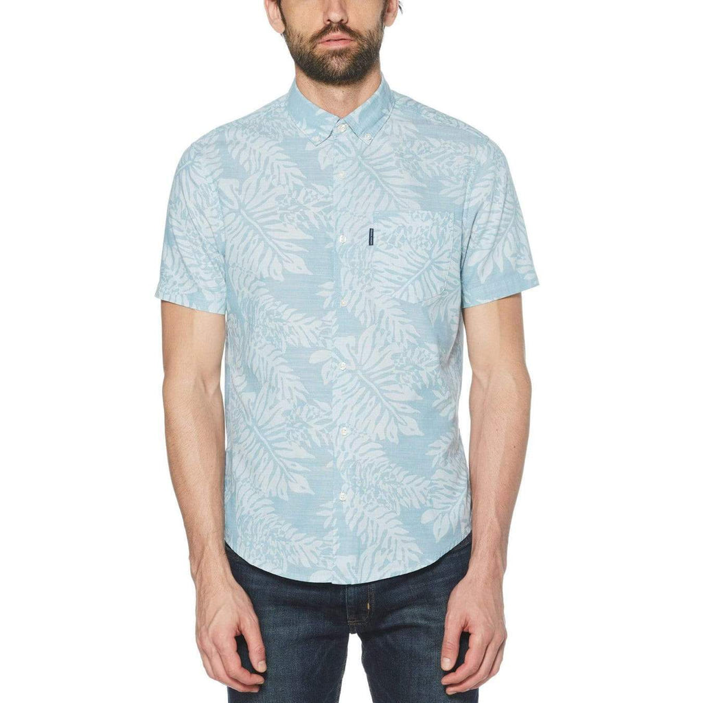 Original Penguin Leaf Print Short Sleeve Woven Shirt - ANTHEM