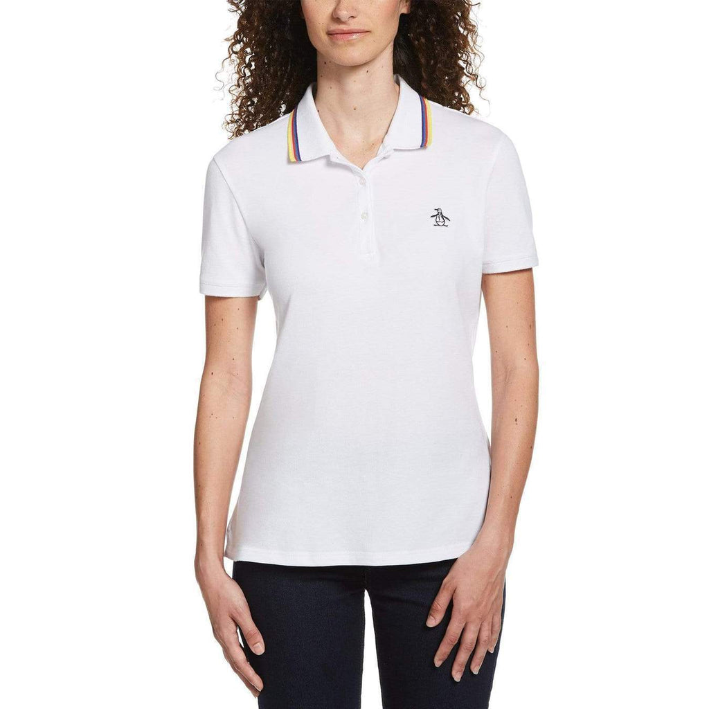 Original Penguin Womens Tipped Birdseye Polo Shirt Bright White - ANTHEM