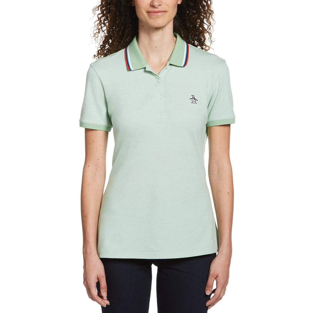 Original Penguin Womens Tipped Birdseye Polo Shirt Meadow - ANTHEM