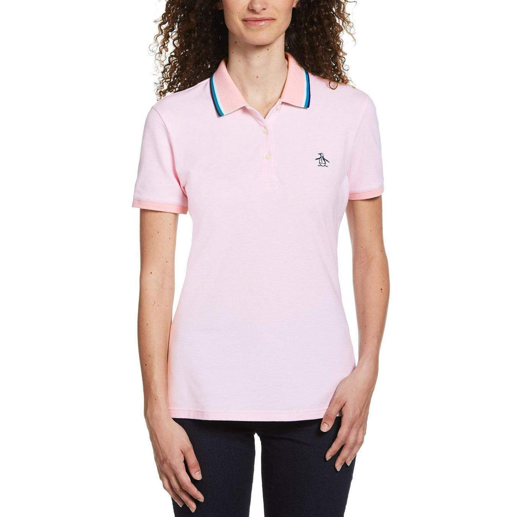 Original Penguin Womens Tipped Birdseye Polo Shirt Parfait Pink - ANTHEM