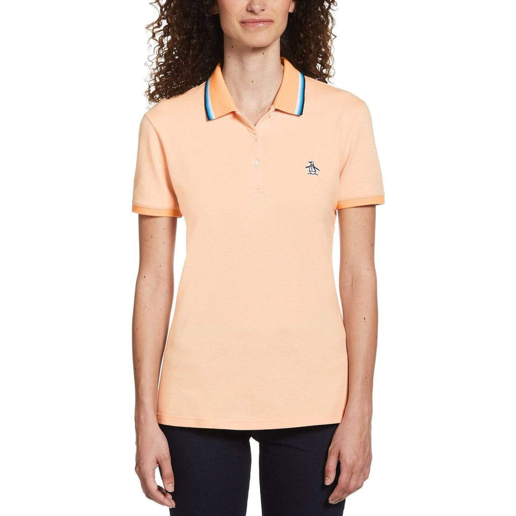 Original Penguin Womens Tipped Birdseye Polo Shirt Coral Sands - ANTHEM