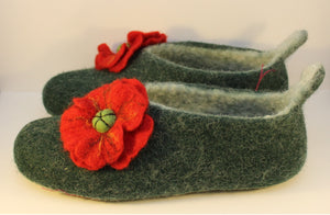 Handfelted Wool Slippers, UK Size 6
