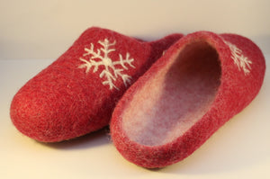 Handfelted Wool Slippers, UK Size 7
