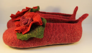 Handfelted Wool Slippers, UK Size 4