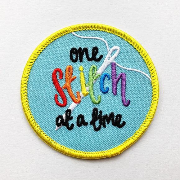 One Stitch at a Time! Iron-on Embroidered Patch - Nurture and Cheer