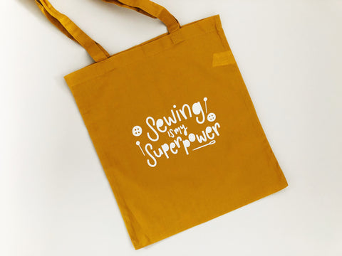 Sewing is My Superpower Cotton Tote Bag - Nurture and Cheer