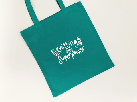 Knitting is my Superpower Cotton Tote Bag - Nurture and Cheer