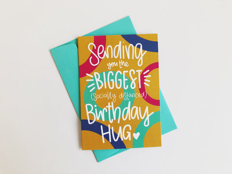 Socially Distanced Birthday Hug Greetings Card
