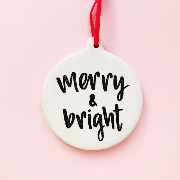 INDIE MARKET SPECIAL Merry and Bright Ceramic Christmas Bauble - Nurture and Cheer