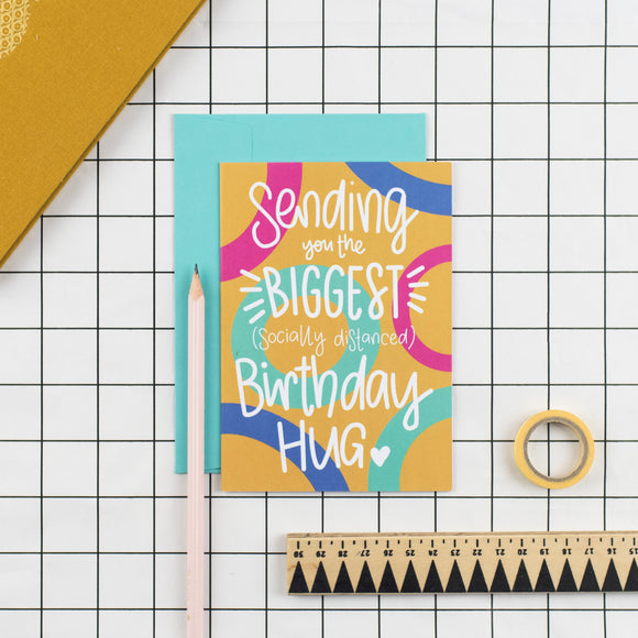 Socially Distanced Birthday Hug Greetings Card - Nurture and Cheer