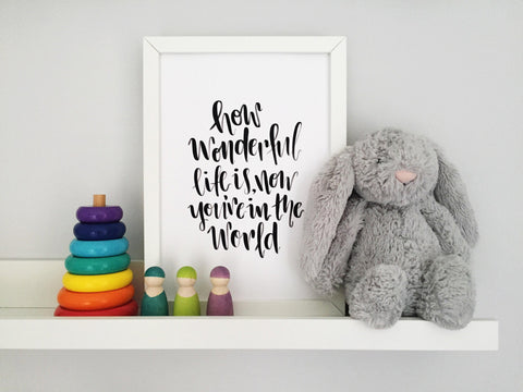 How Wonderful Life is Print - Nurture and Cheer