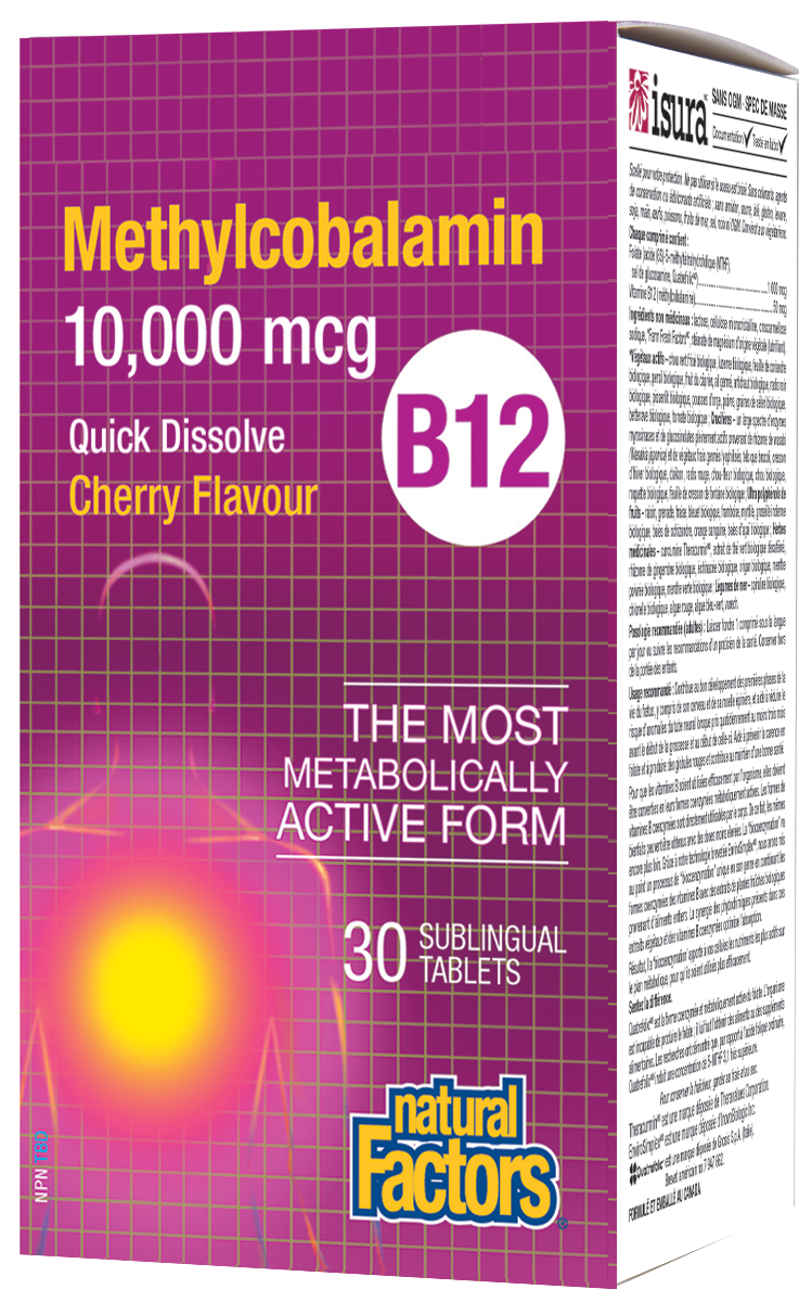 Natural Factors Methylcobalamin B12 provides 10,000 mcg of vitamin B12 in its most bioactive form. This one-a-day sublingual formula supports the normal function of the immune system, energy metabolism, red blood cell formation, and helps maintain good health. Methylcobalamin demonstrates exceptional activity immediately upon absorption over other forms of B12 such as cyanocobalamin.