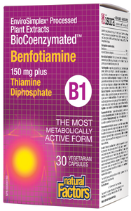 Natural Factors Benfotiamine provides a superior source of thiamine compared to thiamine hydrochloride as it provides a higher bioavailability of thiamine. This formula combines 150 mg of benfotiamine with 10 mg of bioactive thiamine diphosphate to support nerve function and energy metabolism, alongside Farm Fresh Factors – a bioenergetic blend of phytonutrients from whole foods. Upgrade your standard B1 supplement to this non-GMO, vegan-friendly, advanced formula. Feel the difference!