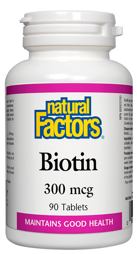 Biotin is a water-soluble vitamin that is part of the B-complex of vitamins. It appears in trace amounts in animal and plant tissue, and is also produced in the intestines by bacteria. Natural Factors Biotin helps maintain overall good health and acts as a coenzyme in the metabolism of fats and carbohydrates.
